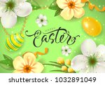 happy easter card with flowers... | Shutterstock .eps vector #1032891049