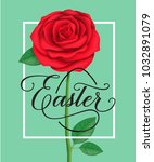 Stock vector easter lettering in frame with red rose 1032891079