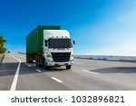 white truck on highway road... | Shutterstock . vector #1032896821