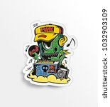 monster dj beard mixing music... | Shutterstock .eps vector #1032903109