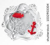 paper underwater sea cave with...   Shutterstock .eps vector #1032903304