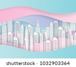 white paper skyscrapers.... | Shutterstock .eps vector #1032903364