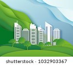 white paper skyscrapers and... | Shutterstock .eps vector #1032903367