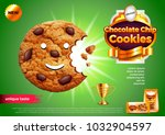 chocolate chip cookies ads. 3d... | Shutterstock .eps vector #1032904597