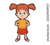 beautiful girl cartoon | Shutterstock .eps vector #1032904957
