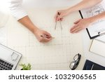 architects working on blueprint ... | Shutterstock . vector #1032906565