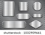 brushed metal plates. set of... | Shutterstock .eps vector #1032909661