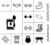 bodybuilding icons. set of 13... | Shutterstock .eps vector #1032917059