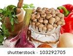 mushrooms  garlic  onion  basil ... | Shutterstock . vector #103292705