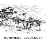 egypt landscape hand drawing....   Shutterstock .eps vector #1032930787