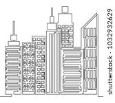 one line style skyscraper city... | Shutterstock .eps vector #1032932629