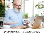 mature bearded businessman with ... | Shutterstock . vector #1032933427