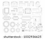 top view of set furniture... | Shutterstock .eps vector #1032936625