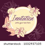 vector hand drawn romantic... | Shutterstock .eps vector #1032937105
