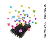 Mobile phone concept under the cloud technology computing symbol made of glossy cubes isolated on white - stock photo
