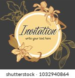vector hand drawn romantic... | Shutterstock .eps vector #1032940864