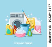 spring cleaning flat cartoon... | Shutterstock .eps vector #1032945697
