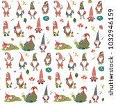 fairytale fantastic gnome dwarf ... | Shutterstock .eps vector #1032946159