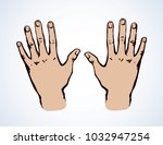 outstretched child handprint...   Shutterstock .eps vector #1032947254