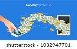 flat design concept payment.... | Shutterstock .eps vector #1032947701