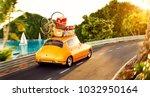 cute little retro car with... | Shutterstock . vector #1032950164