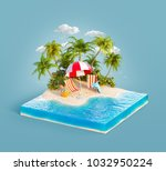 deck chairs under the beach... | Shutterstock . vector #1032950224