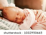 cute little baby sleeping with... | Shutterstock . vector #1032950665