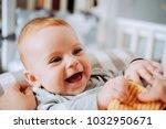 cute little smiling baby girl... | Shutterstock . vector #1032950671