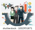 businessman with team and... | Shutterstock .eps vector #1032951871