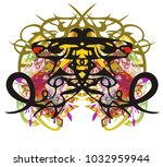 grunge double dragon symbol... | Shutterstock .eps vector #1032959944