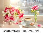 cup of coffee  on the window... | Shutterstock . vector #1032963721