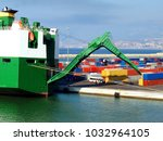 cargo ship unloading. freight... | Shutterstock . vector #1032964105