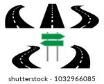 road icons  isolated on white... | Shutterstock .eps vector #1032966085