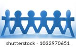 team of paper chain people | Shutterstock . vector #1032970651