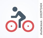 bicycle red wheel man ride... | Shutterstock .eps vector #1032972424