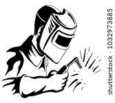 an image of a welder welding... | Shutterstock .eps vector #1032973885