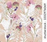 beautiful unfinished garden... | Shutterstock .eps vector #1032976069