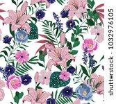 summer garden  floral pattern... | Shutterstock .eps vector #1032976105
