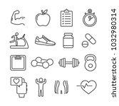 vector image set of fitness... | Shutterstock .eps vector #1032980314