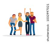 happy group of students. young... | Shutterstock .eps vector #1032997021