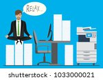 businessman is sitting on pile... | Shutterstock .eps vector #1033000021
