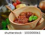 italian cooking    meat balls...   Shutterstock . vector #103300061