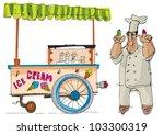ice cream cart   cartoon   Shutterstock .eps vector #103300319