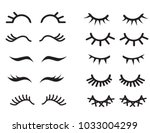 vector cartoon eyelashes set...   Shutterstock .eps vector #1033004299