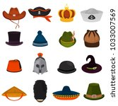 set of different hats color... | Shutterstock .eps vector #1033007569