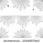 halloween cobweb vector frame... | Shutterstock .eps vector #1033007665