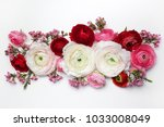 floral composition with a pink... | Shutterstock . vector #1033008049