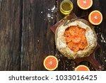 orange biscuit with oat crust....   Shutterstock . vector #1033016425