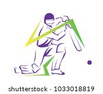 passionate professional cricket ... | Shutterstock .eps vector #1033018819