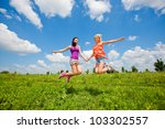 two girlfriends having fun in... | Shutterstock . vector #103302557